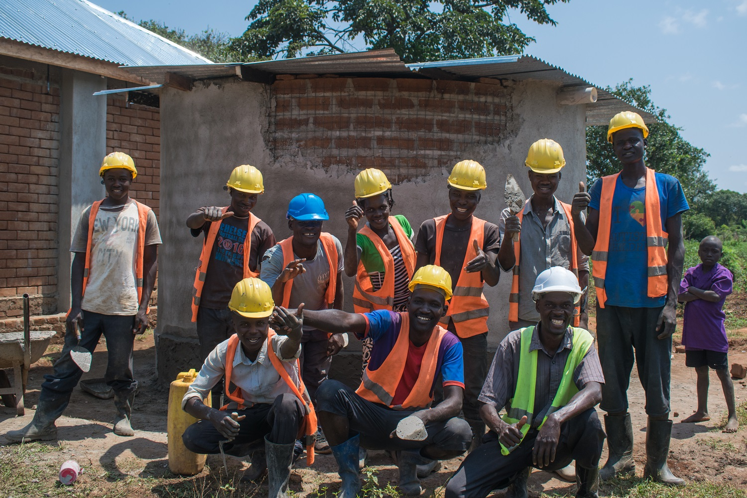 HYT Uganda sustainable ISSB construction team at Kayembe Primary School